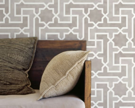 Moroccan Wall Stencil Large Moroccan Key Stencil for Wall or Floor Painting