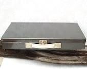 Vintage Metal Box  Industrial Storage  Grey Metal Box  Slide Storage Box - WhimzyThyme