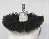 Black sheer large Elizabethan neck ruff, Renn Faire Mardi Gras, Carnival, theater costume collar - VintageCostumes