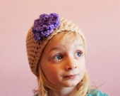 Beanie Hat Crochet Flower Hat Tan Purple Toddler Girls 2t 3t 4t made to order - MyStitchInTime