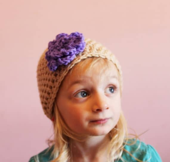 Beanie Hat Crochet Flower Hat Tan Purple Toddler Girls 2t 3t 4t made to order