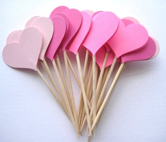 24 Mixed Pink Heart Party Picks - Cupcake Toppers - Toothpicks - Food Picks - die cut punch FP195