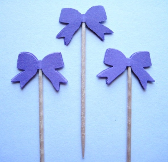 24 Purple Bow Party Picks - Cupcake Toppers - Toothpicks - Food Picks - die cut punch FP243