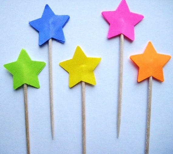 24 Bright Paper Stars Party Picks - Cupcake Toppers - Toothpicks - Food Picks - die cut punch FP268