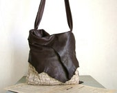 Hobo Tote in Dark Chocolate Brown Leather and Natural Beige Handweave - Made to Order - byloomandhyde