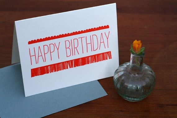 Scallops Happy Birthday Letterpress Printed Card