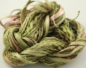 Embroidery floss Thread hand dyed Perle Cotton novelty texture Moss Green lavender pink lilac - NellsEmbroidery