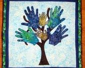 Children's Tree of Hand Prints Wall Hanging Quilt