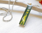 stars pendant, militery green, rectangle, silver tone, FREE SHIPPING, - QueenAndEye