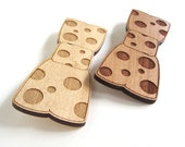 Wood Bow Tie Pin - Polka Dotted Laser Cut Wood Bow Tie - For Men For Women - HavokDesigns