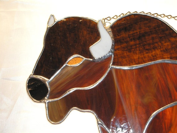 LT Stained glass Buffalo Bison Bull suncatcher light catcher made with different types of brown glass 11 x 8