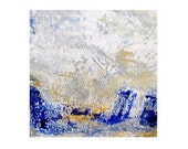 Abstract Print Modern Office WaTeR f A L L  Abstract Giclee Print 10 x 10 Cobalt Blue, Tan, Slate, Cream - MyDifferentStrokes