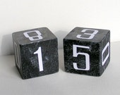 Black Perpetual Calendar Block Set with white numbers - ChristineandCodesign