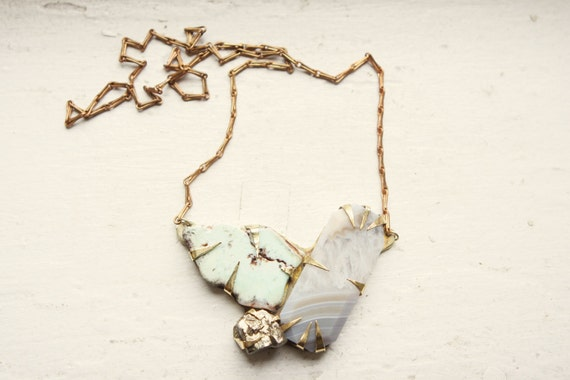 Grey Agate, Freeform Chrysoprase, & Pyrite Necklace