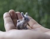 Felt rabbit, super tiny, felted grey rabbit , felt toy, soft sculpture, felt animal, pet miniature, natural toy - RutaFelt