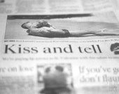 Kiss and Tell Modern Romance Fun Funky Fine Art Photograph Love in Print 1 Whimsical Writing Photograph