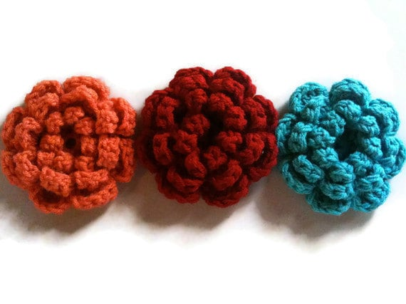 Large Crochet Flower Brooch