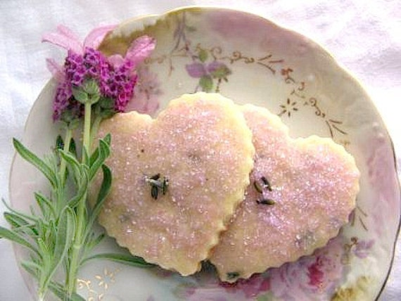 heart shaped tea cookies with pink sprinkles