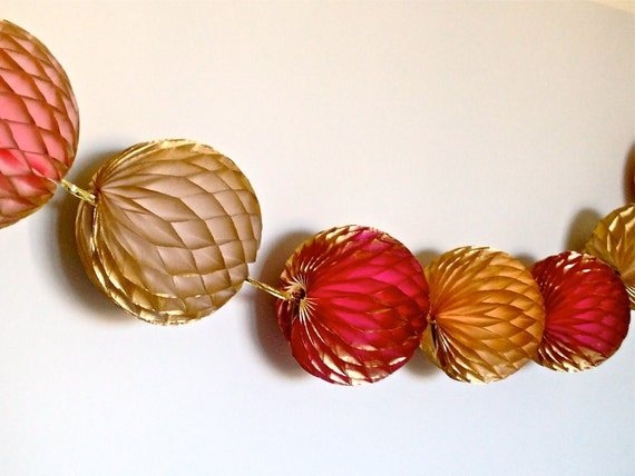 Globes of Glimmer Pinks & Peach Honeycomb Tissue Garland