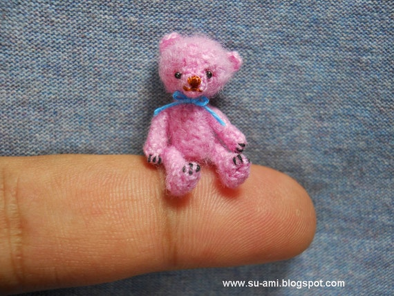 Miniature Pink Bear  - Mini Tiny Crochet Bear -  Mohair Bear Blue Bow
