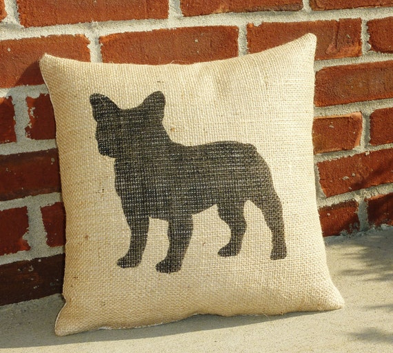 Burlap Pillow with Handpainted French Bulldog-Boston Terrier Silhouette-insert included-14x14