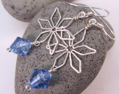 Snowflake Earrings - Nontarnish Silver and Wintry Blue Glass - FantasiaElegance