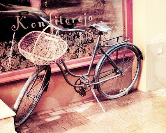 Bicycle - vintage bicycle fine art photography print - 8x10 inch - purple bike, pink, bokeh, city photo
