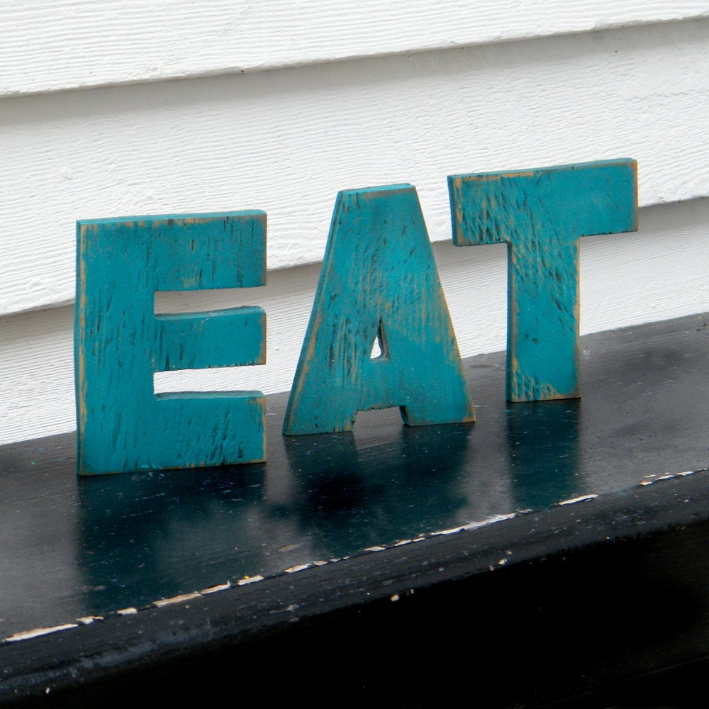 EAT Word Sign Gulf Blue Wood Letters Kitchen by SlippinSouthern