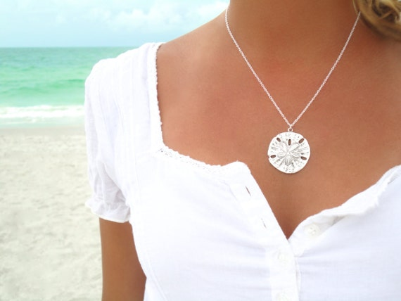Sand Dollar Necklace Silver Sand Dollar Pendant Necklace Sand Dollar Jewelry Sand Dollar Wedding Sterling Silver Necklace