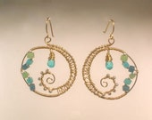 Blue Quartz, Crystal, Sterling Silver and Brass Hoop Earrings - jagrocks