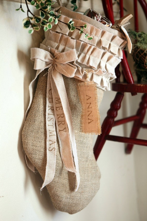 Burlap Christmas Stocking, cotton ruffles, custom, personalized