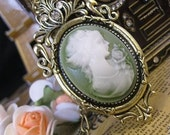 Beautiful Victorian Cameo, Aged Brass Setting, Crystals, 77x43mm, 1 Pendant - jeweledhummingbird