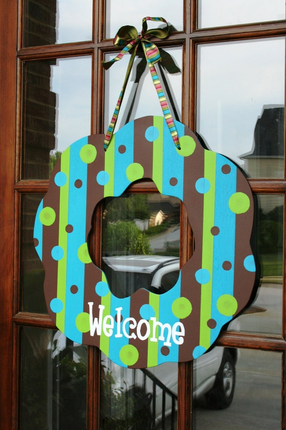 Striped & Polka Dot Welcome Door Wreath