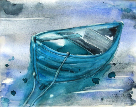 Blue Boat Watercolor Painting Original Nautical Art Print