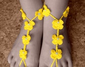 Yellow  Sexy crocheted barefoot sandals steampunk, victorian lace, sexy, yoga, anklet ,wedding, beach or pool party- Ready to Ship - dosiak