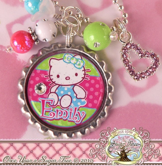 Personalized Hello Kitty Bottle Cap Necklace, Custom Name, Princess Birthday Present, Flower Girl, Heart Charm