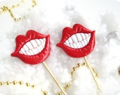 Two Plastic Lips with teeth on a  Stick - Christmas, Wedding, party photobooth