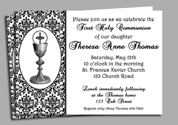 First Holy Communion Invitation Announcement - Printable - Bread and Wine