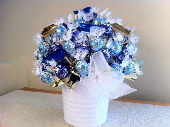 Blues with Ribbon in White Vase - Chocolate Candy Bouquet