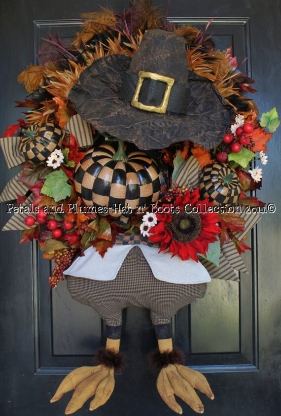"MADE TO ORDER -Thanksgiving Wreath-Fall Wreath-""Mr Gobble Gobble-Primitive Folk Art Turkey Wreath(Limited availability-see details)"