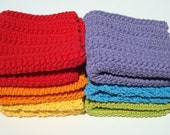 6 Cotton Washcloths - Red, Orange, Yellow, Green, Blue, Purple (Violet) Crochet Rainbow Washcloths, Wash Cloths - HoookedBathandBody