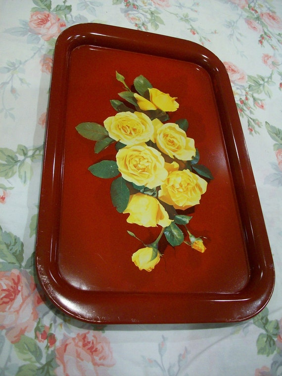 Vintage Red Litho Metal Tole Tray Yellow Roses 9x14