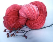 STRAWBERRY JAM Hand Dyed Yarn (Eco Friendly) Merino and Nylon Sock Weight Red - spinningmulefibers