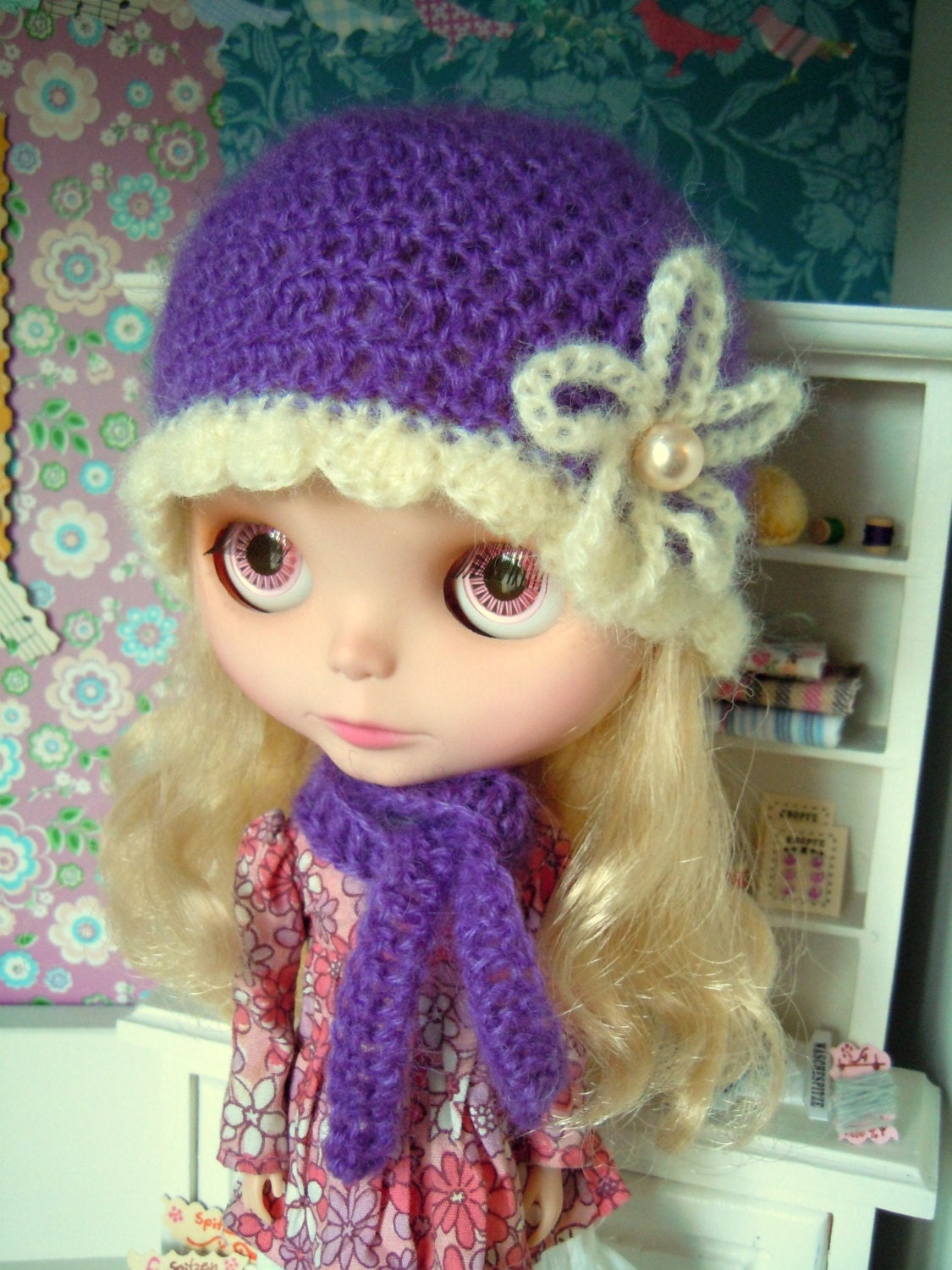 SALE PRICE Crochet hat and scarf for Blythe doll by Herzlichkeiten Crochet Scarves For Sale