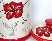 Canister with Hibiscus design in Red and Black - BonCreationz