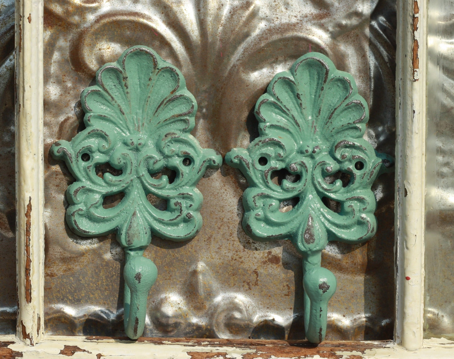 Wall hooks/ Wall Decor hooks/ Pair of Jade by MichelleLisaTreasure