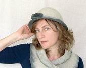 Womens vintage Bowler Hat in gray celadon 30, 40s - Leris
