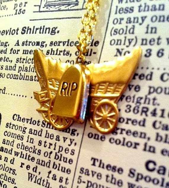 SALE - You Have Died of Dysentery - Gold Wagon and Tombstone Oregon Trail Charm Necklace