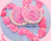 Breast Cancer Awareness - Crochet Earrings with rondelle crystals by Jamieson Designs