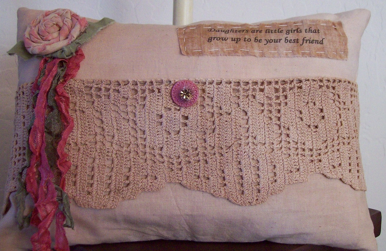 Shabby Chic Pocket Pillow vintage crochet lace by LilyandNancitas
